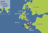 Blaue Reise rund um die Ionischen Inseln, Reisezielkarte